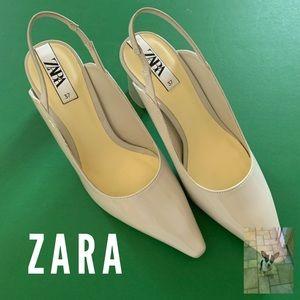 Zara bone colored slingback shoes size 7